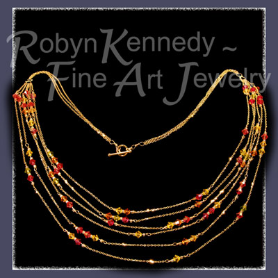 Fourteen Karat Yellow Gold and Austrian Crystal 'Autumn Sparkler' Necklace Image