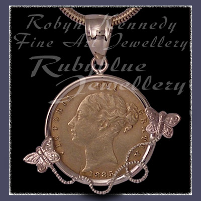 14 Karat Yellow Gold, 1885 Gold Coin and Butterflies Pendant Image