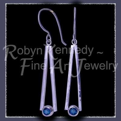 Argentium Silver, Steling Silver and Genuine Evergreen Topaz 'Cleopatra' Earrings Image