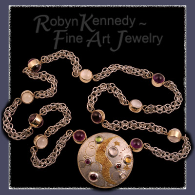 24 and 10 Karat Yellow Gold, Sterling Silver, Amethyst, Moonstone, Garnet, Peridot and Citrine Brooch with Art Deco Link Handmade Chain Image
