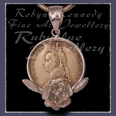 14 Karat Yellow Gold and 1885 Coin 'Rose Queen' Pendant Image Pendant Image