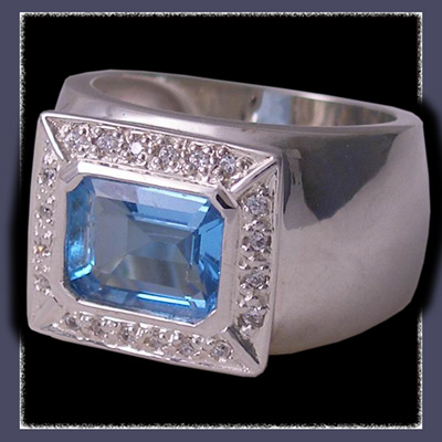 Sterling Silver, Genuine Rectangular Emerald Cut Blue Topaz and Cubic Zirconias Ring Image