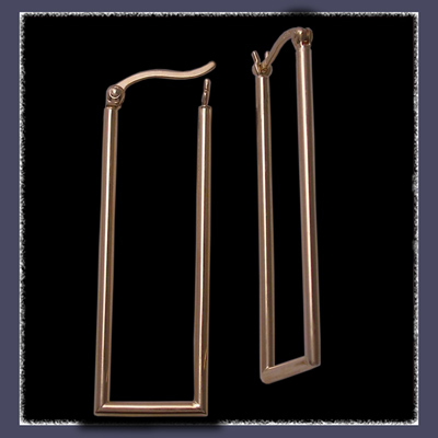 14 Karat Yellow Gold Rectangular Tube Hoop Earrings