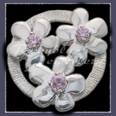 Sterling Silver 'Circle of Flowers' Lapel Pin with October Birthstones Image