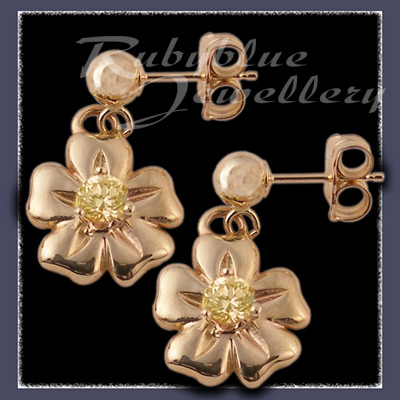 Gold 'Single Bloom' Ballstud Earrings with November Birthstones Image