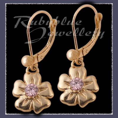 Gold 'Single Bloom' Euroback Earrings with October Birthstones Image