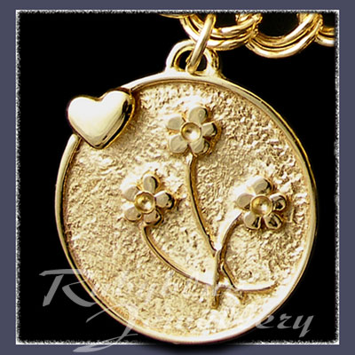 Gold 'Heart & Flowers' Charm Image