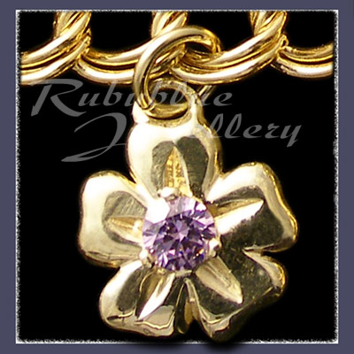 Gold 'Single Blossom' Charm with October Birthstone Image