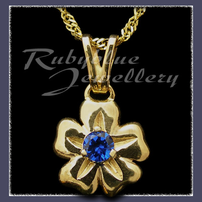 Gold with September Birthstone 'Single Blossom' Pendant Image