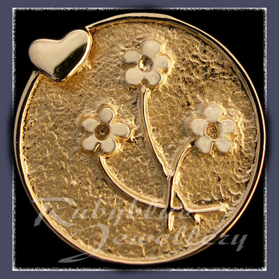 Gold 'Heart & Flowers' Lapel Pin Image