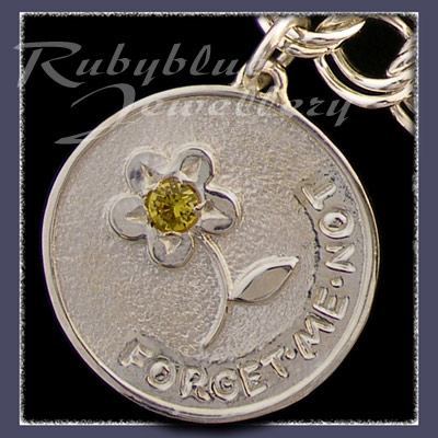 Sterling Silver 'Engraved' Charm with November Birthstone Image
