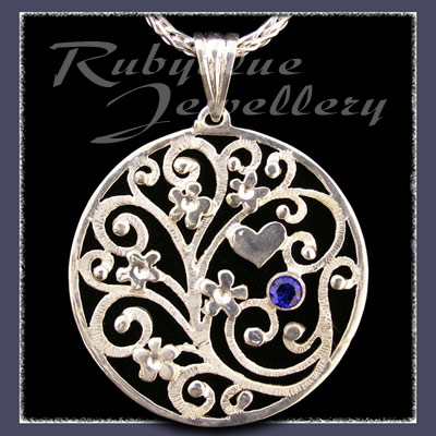 Sterling Silver 'Forget-Me-Not Bouquet' Pendant with September Birthstone Image