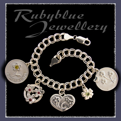 Sterling Silver Charm Bracelet with Forget-Me-Not Charm Collection  Charms Image
