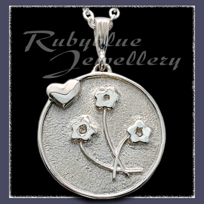 Sterling Silver 'Heart & Flowers' Pendant Image
