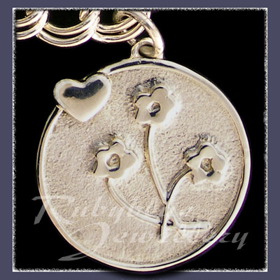 Sterling Silver 'Heart & Flowers' Charm Image