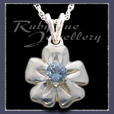 Sterling Silver 'Single Blossom' Pendant with December Birthstone Image