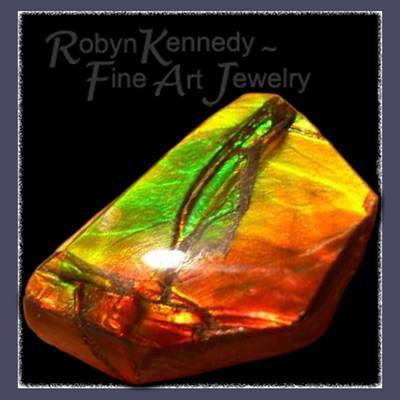 One of a Kind Genuine Alberta, Canada Free Form Ammolite Gemstone Image