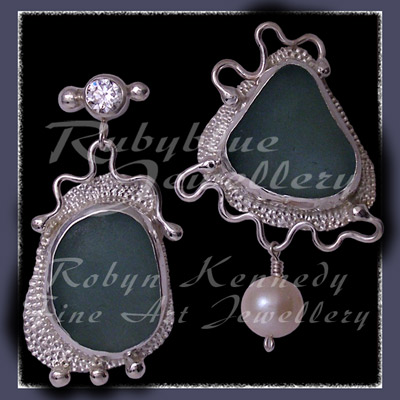Sterling Silver, Genuine Great Lakes Beach Glass,  Cubic Zirconia and White Pearl  Earrings Image