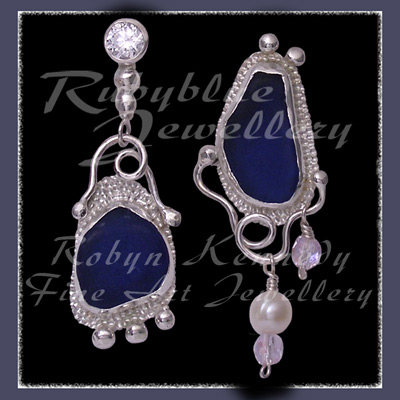 Sterling Silver, Genuine Great Lakes Beach Glass, Cubic Zirconia, Pearl and Czech Glass Earrings Image