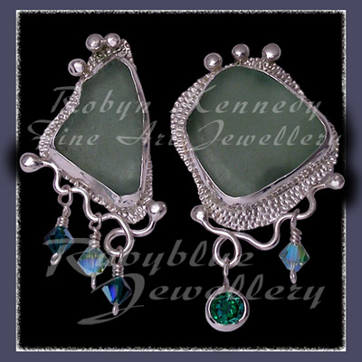 Sterling Silver, Genuine Great Lakes Beach Glass,  Rainforest Green Topaz and Swarovski Crystal Earrings Image