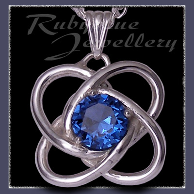 Sterling Silver and Swarovski Blue Zircon 'Amity' Pendant Image