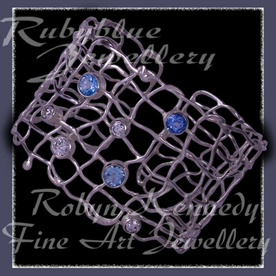 Skyblue, Iceblue, Paradise Blue, Swarovski Cubic Zirconias and Sterling Silver 'Brilliance' Cuff Bracelet Image