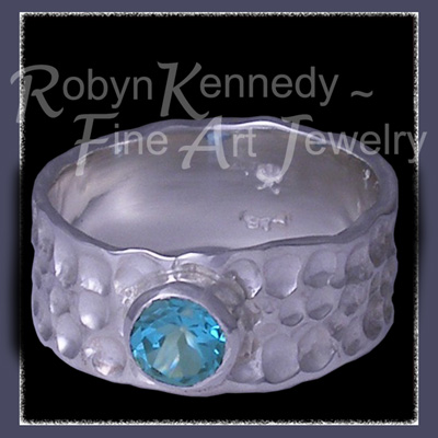 Argentium Silver and Teal Blue Topaz 'Charisma' Ring Image