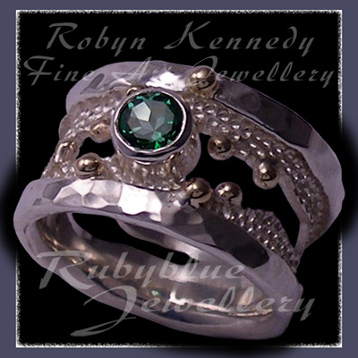 10 Karat Yellow Gold, Sterling Silver and Rainforest Green Topaz 'Chic' Ring Image
