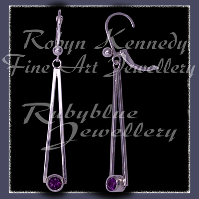 Argentium Silver, Steling Silver and Genuine Amethyst  'Cleopatra' Earrings Image