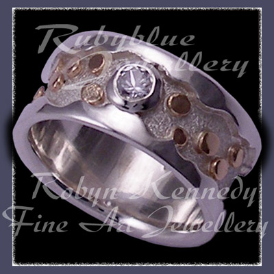 10 Karat Yellow Gold and Argentium Silver and White Topaz ' Destiny ' Ring Image