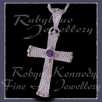10 Karat Yellow Gold, Sterling Silver and AA Amethyst 'Divine' Cross Pendant Image
