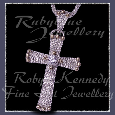 10 Karat Yellow Gold, Sterling Silver and White Topaz 'Divine' Cross Pendant Image