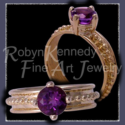 18 Karat Yellow Gold and Amethyst, One-Of-A-Kind, 'Empress' Ring Image