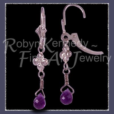 14 Karat White Gold and AA Grade Genuine Amethyst Briolette 'Enchanted' Amethyst Earrings Image