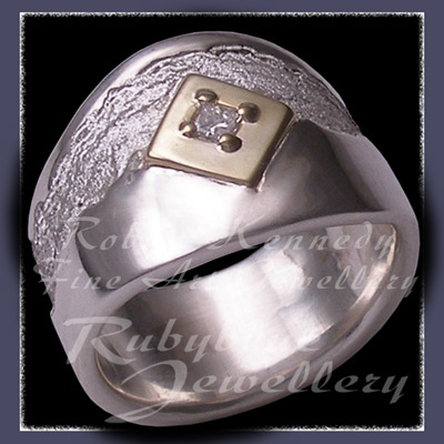 18 Karat Yellow Gold, Sterling Silver and Diamond 'Evermore' Ring Image