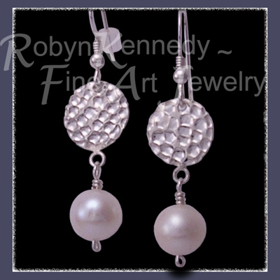 Sterling Silver  and Genuine Cultured Freshwater White Pearl 'Fair Lady' Earrings  Image
