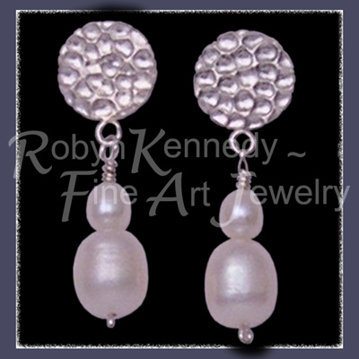 Sterling Silver  and Genuine White Cultured Freshwater Pearl 'Fair Lady' Earrings  Image