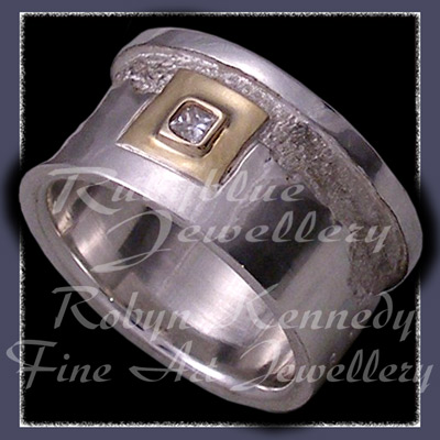 18 Karat Yellow Gold, Sterling Silver and Diamond 'Forever' Ring Image