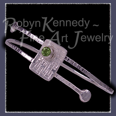 Sterling Silver and Peridot 'Fantasy' Bangle Bracelet image