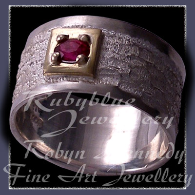 18 Karat Yellow Gold, Sterling Silver and Genuine Ruby  'New Love' Ring Image