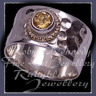 14 Karat Yellow Gold, Argentium Silver & Honey Topaz 'Flair' Ring Image