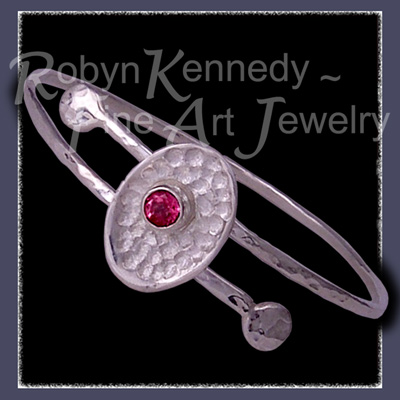 Sterling Silver and Pure Pink Fuschia Topaz 'Fleur' Bangle Bracelet Image