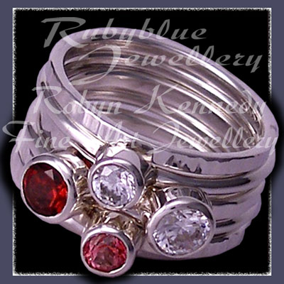 Sterling Silver, Mozambique Garnet,  Pink Topaz and Swarovski Cubic Zirconias, 'Revelry' Stacker Ring Set Image