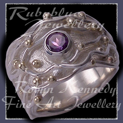 10 Karat Yellow Gold, Sterling Silver and Amethyst, wires and caviar, 'Gem Joy' Amethyst Ring Image