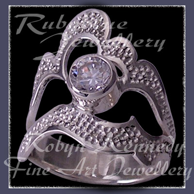 Argentium Sterling Silver and Genuine Cubic Zirconia 'Grace' Ring Image
