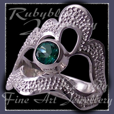 Argentium Sterling Silver and Genuine Rainforest Green Topaz 'Grace' Ring Image