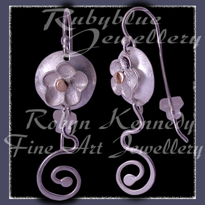 Sterling Silver and 10 Karat Yellow Gold 'Feeling Groovy' Flower and Swirls Earrings Image