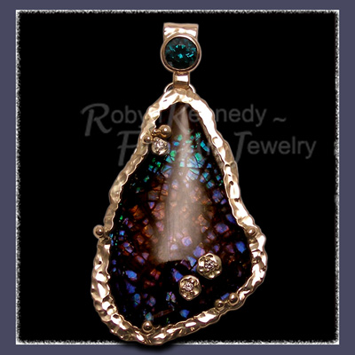 18 Karat Hand Forged Yellow Gold, Sterling Silver, Ammolite, Green Tourmaline and Diamonds 'Hearts Desire' Pendant Image