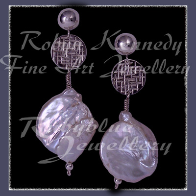 Sterling Silver and Cultured Freshwater Coin Pearl 'Silver Moon' Earrings Image