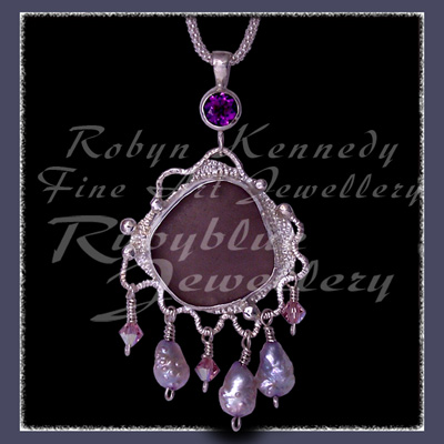 Sterling Silver, Great Lakes Beach Glass, Amethyst, Swarovski Crystals and Pearls 'Beach Glass' Pendant 19 Image